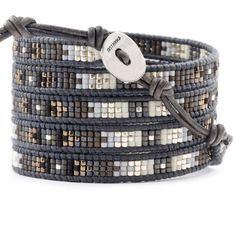 Grey Mix Wrap Bracelet on Natural Grey Leather - Chan Luu