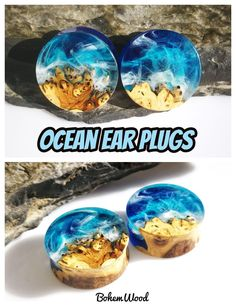 These hand-carved wood and resin ear plugs have an ocean scape inside! Several layers of resin create a 3d impression, you'll feel like holding a piece of the ocean in your palms!