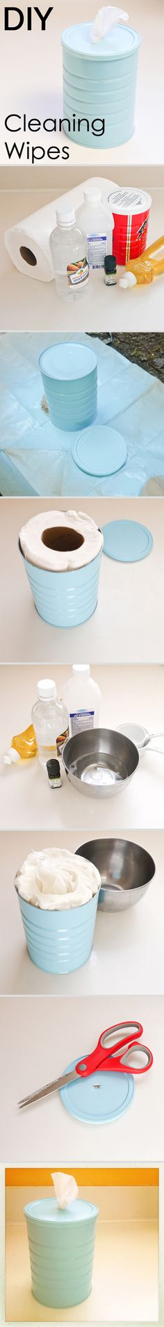 How to make your own cleaning wipes and canister. I use a lot of alcohol and vinegar to clean with already so I'm going to try this out! I will reuse my Clorox wipes canister.