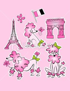 French fifi poodle in Paris Royalty Free Stock Vector Art Illustration
