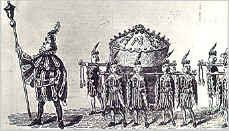 The Twelfth Night cake brought into the great hall to the royal table - The twelfth night of the twelve days of Christmas was the official end of the winter holiday season and one of the traditional days for taking down the Christmas decorations.