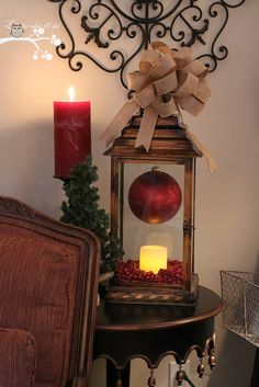 Lookie What I Did: Red and Burlap Christmas ManteI like this lantern with ornament + battery candle
