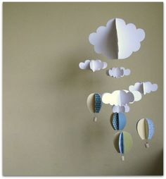 air baloons and clouds BIG mobile / 3D clouds and baloons nursery mobile / boy's room decoration / baby shower gift. $75.00, via Etsy.