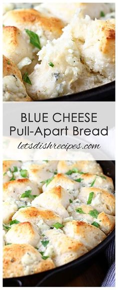 Four Kitchen Decorating Suggestions Which Can Be Cheap And Simple To Carry Out Blue Cheese Pull Apart Bread Recipe: Made With Just Five Simple Ingredients, This Savory, Buttery Cheese Bread Is So Easy To Make And Always A Hit Quick Appetizers, Appetizer Recipes, Bread Appetizers, Side Dish Recipes, Bread Recipes, Muffin Recipes, Breakfast Casserole, Breakfast Recipes, Breakfast Ideas