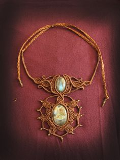 Rá  sacred geometry macrame necklace with by AbstractikaCrafts