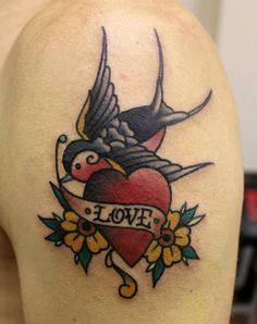 Traditional Swallow Love Tattoo By Phatt #noregretsstudio. Love this, but would change flowers to daisies
