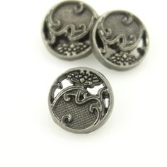 Nickel Silver Sea Waves and Tree Metal Shank Buttons - 11mm - 7/16 inch