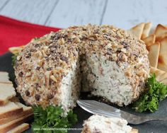 Chocolate Pecan Encrusted Bacon Cheese Ball-Jarlsberg cheese enhances the flavors of bacon, green onions and just a touch of blue cheese then coated in pecans and semi-sweet chocolate!