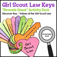 Girl Scout Law Keys - Brownie Quest Discover Key - *FREE* Brownies discover, learn, and practice the values of the Girl Scout Law with this appealing set of key-shaped flash cards. This printable paper activity pack is designed to help fulfill Brownie Quest Journey Discover Key - Step 2 with minimal supplies and ink, but may be used for other purposes by those who do not plan to complete this Journey.