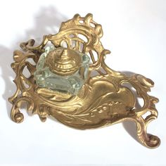 art nouveau style brass inkwell stand with glass insert this is a reproduction of an art deco office credenza