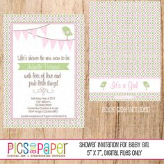 Baby Shower Invitation for girl with pink bunting by PicsandPaper, $8.00