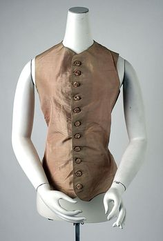 Woman's riding waistcoat, silk and linen, c. 1775, probably British.