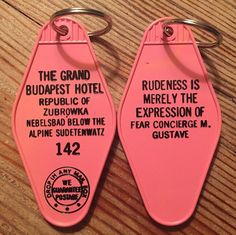 IN PINK - The Grand Budapest Hotel Inspired Keytag - Limited Supply!