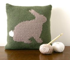 "Bunny Rabbit Cushion Pattern Pillow PDF Crochet Pattern 14""x14"" Kitsch"