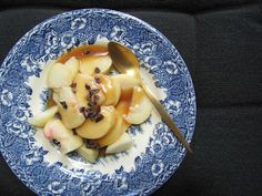 Flat peaches & salted caramel, cacao.