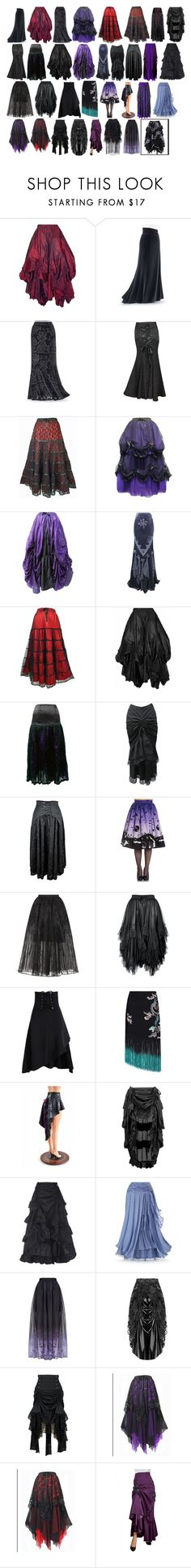 """Lanya's Long Skirts #2"" by switchback13 on Polyvore featuring Hell Bunny, Elie Saab, RIXO London and California Costumes"