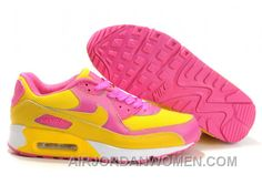 classic fit f0696 1f61e Nike Air Max 90 Womens Yellow Pink White Low Lastest RTZCr