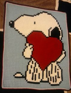 Snoopy Handmade Crochet Graphghan. by Mardiscrafts on Etsy