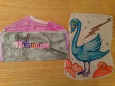 A great blue swan drawn and colored in crayon by Jasmin, 8 years old • Art My Kid Made #kidart #crayon #animals