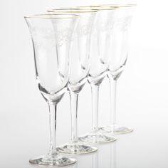 4 zarte Vintage Sektgläser Gläser Goldrand Barock Rokoko Dekor weiß ~ 50er W1D