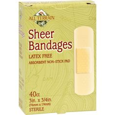 All Terrain Bandages - Sheer - 3/4 in x 3 in - 40 ct - All Terrain Sheer Bandages Latex Free Description: Latex Free Absorbent Non-Stick Pad All Terrain cares about the environment and so should you. These latex free bandages are eco-friendly and effective.All Natural EcoGuard Bandages are: Not Tested on Animals. Latex-free. Made from recycled or recyclable material. Water-based adhesives. Natural, food-grade colors and pigments. 100% Sterile Guaranteed. Disclaimer These statements have not…
