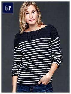 Nautical stripe rib sweater