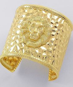 Lion Head Bracelet Gold Urban Cuff Bangle Tribal Queen of the Jungle Style Chunky Armor Statement
