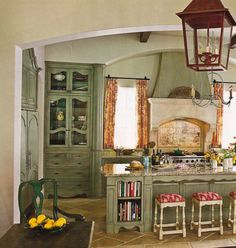 Furniture, Very Small French Country Kitchen With Marble Top Island And Wooden Base Painted With Light Green Chalk Paint Color With Bookshelf And Stools With Fabric Seat Cover Ideas ~ Country Kitchen Ideas