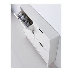 IKEA - STÄLL, Shoe cabinet with 4 compartments, white, , Helps you organize your shoes and saves floor space at the same time.In the shoe cabinet your shoes get the Ikea Organization, Ikea Storage, Small Storage, Entryway Shoe Storage, Attic Storage, Closet Storage, Ikea Design, Hallway Ideas Entrance Narrow, Home Furniture