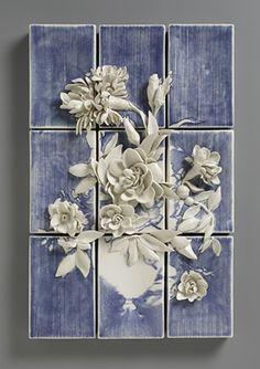 Still Life with Flowers.   Porcelain, inlayed slip, glaze