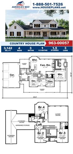 Fulfill your dreams of having a long driveway to a big withe house with Plan 963-00057. This Country house plan is featured with 3,142 sq. ft., 4 bedrooms, 3.5 bathrooms, a loft, a bonus room, and a formal living room. Craftsman Style Homes, Craftsman House Plans, Formal Living Rooms, Living Spaces, Long Driveways, Best House Plans, Build Your Dream Home, Architectural Elements, Square Feet