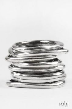 Iosselliani Silver Asymmetrical Stacking Rings