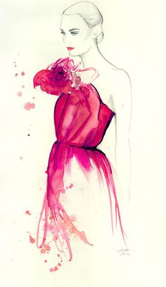 Time to Blossom, print from original watercolor and pen fashion illustration by Jessica Durrant