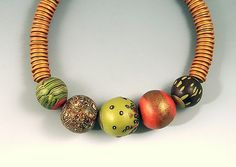 5 Green and Copper Berries P by Loretta Lam: Polymer Clay Necklace available at www.artfulhome.com