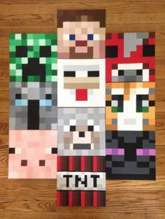 10 x 10 Minecraft Inspired canvas panels by karynbergen on Etsy Minecraft Room Decor, Minecraft Quilt, Minecraft Bedroom, Boy Room, Kids Room, Minecraft Costumes, Christmas Present For You, Birthday Painting, Kids Canvas