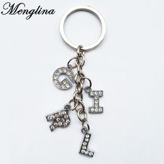 Menglina Fashion Rhinestone Crystal Word GIRL Keychains Silver Plated Metal  Capital Letters Key Ring For Women 299a9b5d1