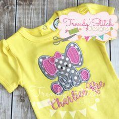 Baby Elephant Girl Applique - 5 Sizes! Trendy Stitch Designs