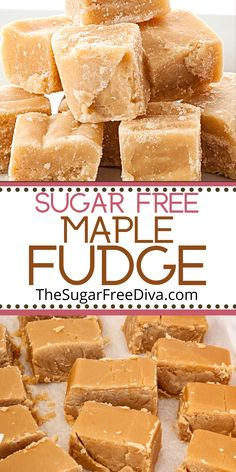 YUMMY and Easy!    Super easy recipe for making homemade fudge without adding sugar. Sugar Free maple fudge is the perfect treat for desserts, holidays, snacks, and celebrations. Sugar Free Diet, Sugar Free Recipes, Sweets Recipes, Cookie Recipes, Keto Recipes, Yummy Snacks, Delicious Desserts, Yummy Food, Easy Dinner Recipes