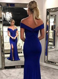Prom Dress Beautiful, Mermaid Off-the-Shoulder Royal Blue Elastic Satin Prom Dress with Split, Discover your dream prom dress. Our collection features affordable prom dresses, chiffon prom gowns, sexy formal gowns and more. Find your 2020 prom dress Homecoming Dresses Long, Royal Blue Prom Dresses, A Line Prom Dresses, Beautiful Prom Dresses, Mermaid Prom Dresses, Sexy Dresses, Blue Dresses, Fashion Dresses, Bridesmaid Dresses