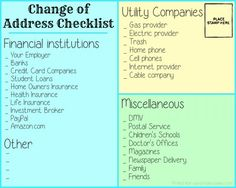 Change of address checklist - I have so many addresses all over the place, I need to get it in order