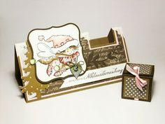 Card with integrated box for small gift! ('m thinking Ferrero Rocher! Deco Table, Folded Cards, Small Gifts, Christmas Cards, Card Making, Presents, Lily, Ferrero Rocher, Frame