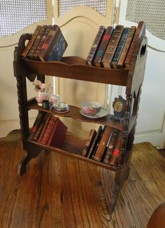 Petite Antique English Oak Turned End Table Book Shelf Trough Bookshelf   eBay