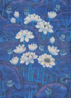 Chinese folk art paintings - Blue Lotus