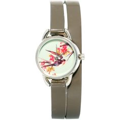 Accessorize Double Wrap Watch With Bird Print Face ($44) ❤ liked on Polyvore