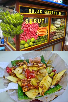 Rujak buah serut ( cuts of fruits: mango, guava, yam bean, rasped, papaya, pineapple, yam with sweet and very spicy brown sugar sauce and grounded peanuts.
