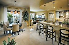 Cohesive, classy, warm space... use just a few design elements throughout all rooms.