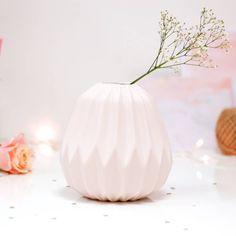 Fluted Folded Origami Blush Pink Vase