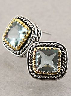 Aquamarine CZ Taylor Earrings | Awesome Selection of Chic Fashion Jewelry | Emma Stine Limited