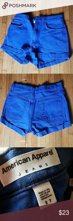 Blue American Apparel jean shorts Cobalt blue denim American Apparel shorts. Size 27. American Apparel Shorts Jean Shorts