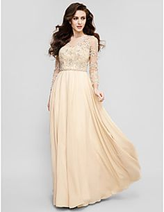 TS Couture® Prom / Formal Evening Dress Plus Size / Petite A-line Jewel Floor-length Chiffon with Appliques / Beading / Sash / Ribbon – USD $ 129.99